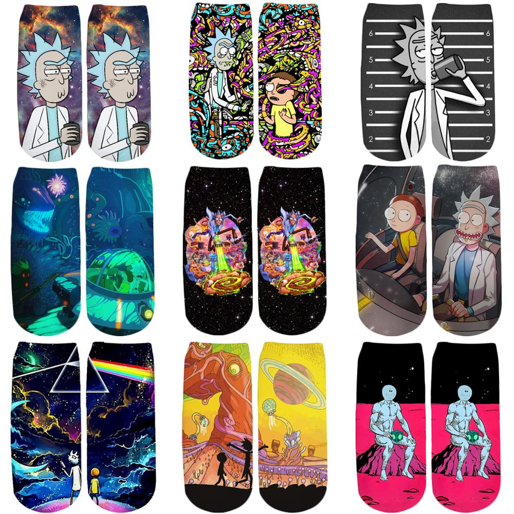 PLstar Cosmos 2019 New 3D Printed Cartoon Rick and Morty cute cotton short ankle   socks   for Men Women harajuku korean   socks   WZ044