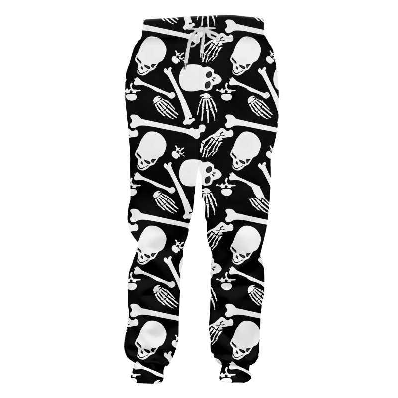 UJWI odzież uliczna 3D drukowane męskie spodnie dresowe szkielet i czaszka Punk Rock męskie spodnie Spandex hurtownie duży rozmiar 6XL