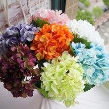 Искусственный Шелковый цветок(40 шт./лот) белая искусственная ткань Гортензия Букет свадебное украшение для дома 16 цветов