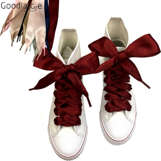 mejor servicio 555a3 f1c55 € 2.6 12% de DESCUENTO|Cordones de cinta planos de satén Extra anchos de 4  cm para zapatillas de deporte de alta altura de 150 cm/59 pulgadas en ...
