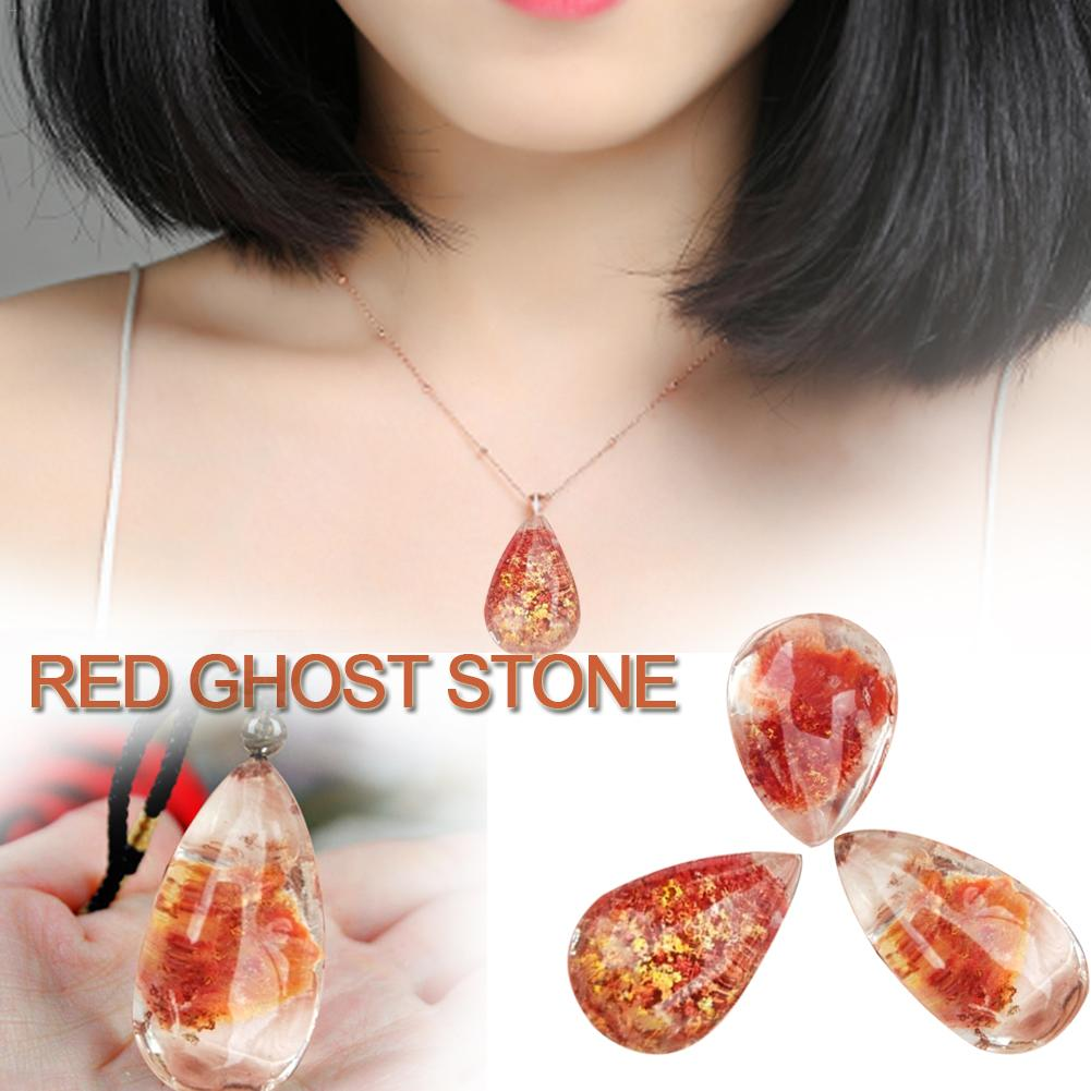 Crystal Pendant Natural Ghost Stone Necklace Hand-woven chain Quartz Stone