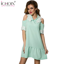2019 New Summer Style A-line Dresses Lace Patchwork Casual Off Shoulder Fashion Dress Robe Women Short Sleeve Dress With Zipper