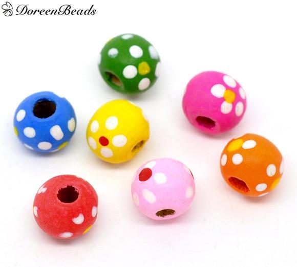DoreenBeads 300 Mixed Multicolor Dot Round Wood Beads 10x9mm (B11300)