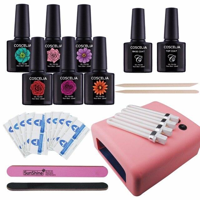 6PC Nail Polish Manicure Kit Set 10ml Vanish Disposable Polish 36W ...