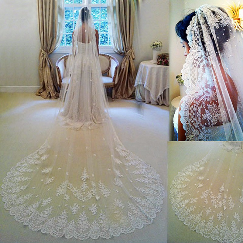 New Hot In Stock 3 4 Meters Long Wedding Veil Bridal Veils White / Ivory Lace Edge With Comb Wedding Accessories Veil Soiree 44