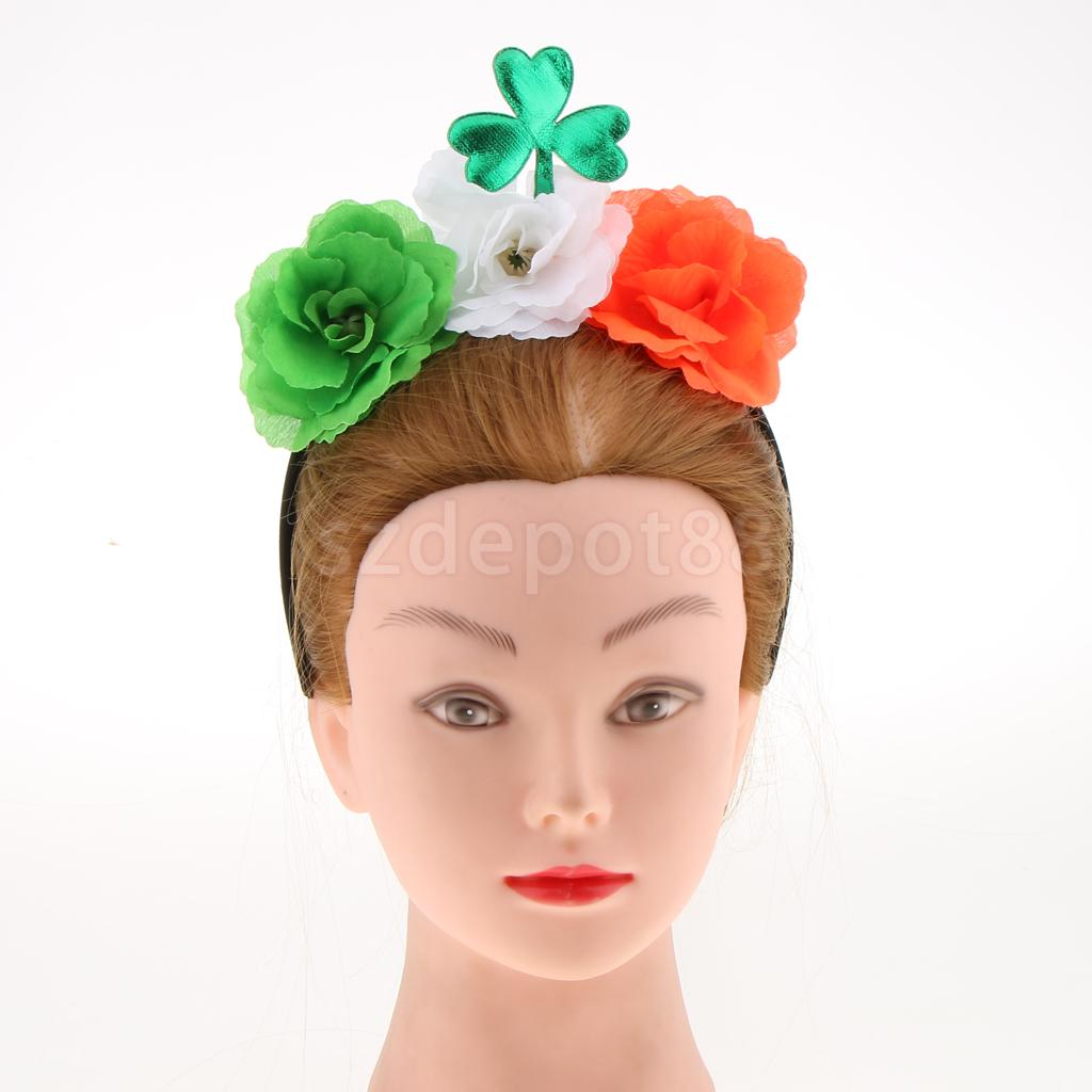 Green Shamrock Leaf Flowers Headband Saint Patrick Day Party Parade Dress Up ...