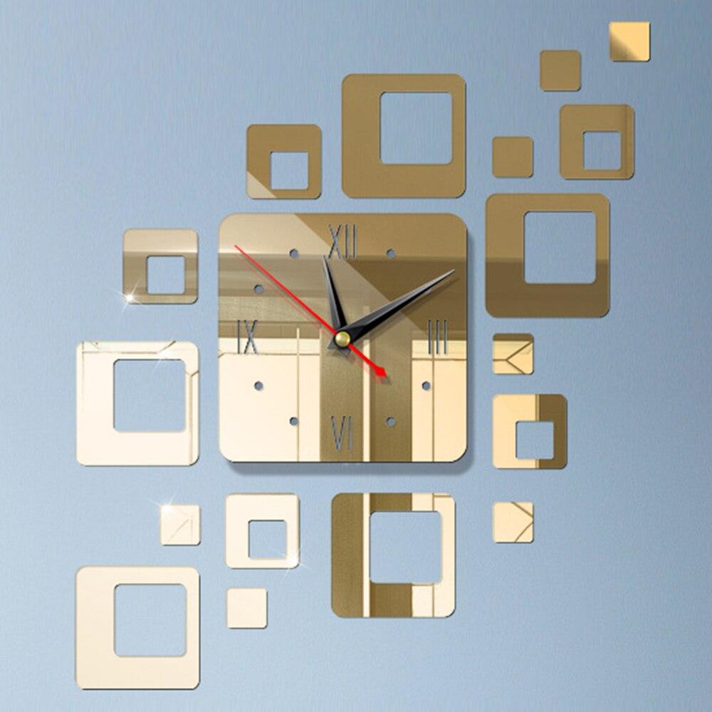 DIY 3D зеркальные настенные наклейки настенные часы художественная роспись домашний Декор Гостиная ТВ Фоновые наклейки настенные часы кварцевые иглы - Цвет: F SlightGold