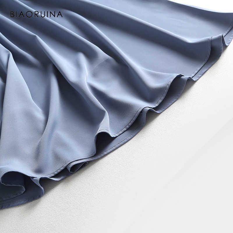 BIAORUINA, женское элегантное одноцветное платье с высокой талией и v-образным вырезом, женское модное летнее платье трапециевидной формы, Vestidos, корейский стиль, повседневные платья