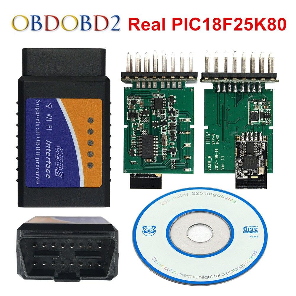 100% Real PIC18F25K80 ELM327 WIFI V1.5 ELM 327 para el androide Torque/PC soporte todos OBD2 Protocolo 13 idiomas 12 V Diesel envío gratis