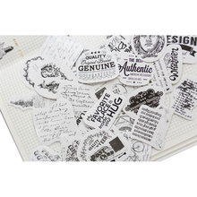 50pcs/pack Black and White English Scrapbooking Happy Planner Card Making Journaling Project Scripbooking Sticker