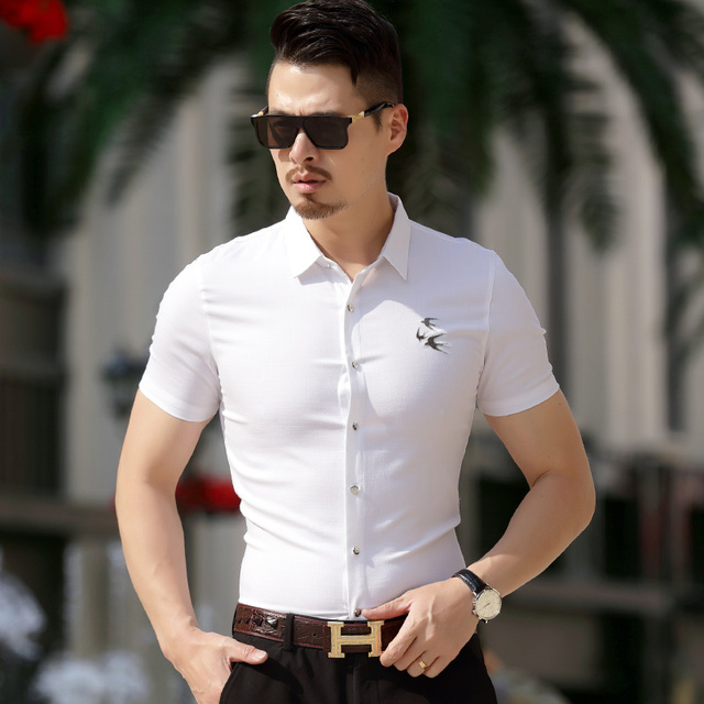 Kuyomens Summer Fashion Short Sleeve Men Shirts Casual Business Formal Office Working