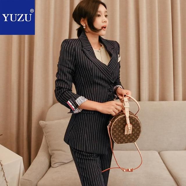 2018 Autumn Women Fashion 2 Piece Pant Suits Black Vertical Striped Single Breasted Blazer Jacket Work Office Business Suits