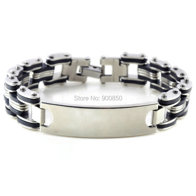 New Fashion 316L Stainless Steel Bracelets for Women Men Black Silver Cuff Chain Wristband Best Gift