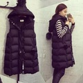 In the long down cotton vest female new winter hooded  thickened thick Jacket vest