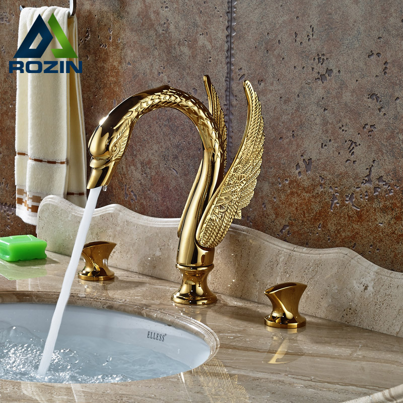 Luxury Swan Style Dual Handles Widespread Basin Sink Faucet Deck Mount Mixer Tap Golden Color luxury waterfall spout basin lavatory sink faucet widespread dual handles mixer tap deck mount chrome finish