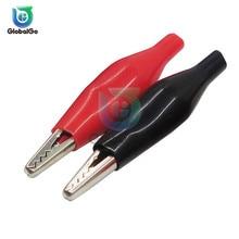 10 пара/лот 35 мм металлический зажим типа крокодил P2001 Электрический зажим для измерительный щуп метр Черный и красный с зажим в пластике