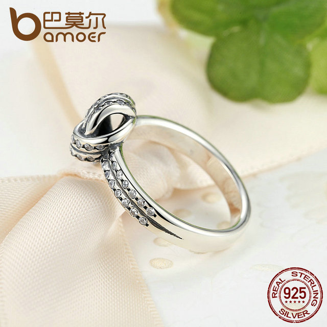 Sterling Silver SPARKLING LOVE KNOT Weave Ring