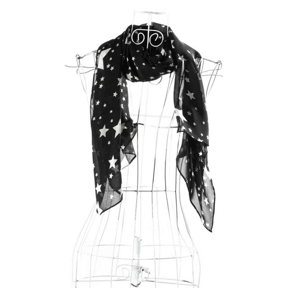 Mode Star écharpe femmes dames Floral en mousseline de soie écharpe enveloppement doux longs châles et foulards foulard Femme 2019 printemps mode