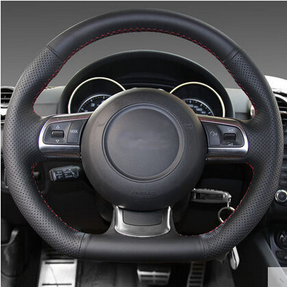 car styling DIY Special Hand-stitched Black Genuine Leather Steering Wheel Cover For Audi TT 2010+