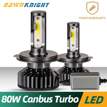 H4 Led Canbus External Drive Turbo H7 H1 H3 9005 9006 H8 H9 H11 Headlight 80W 12000LM Mini Size  Car Bulb
