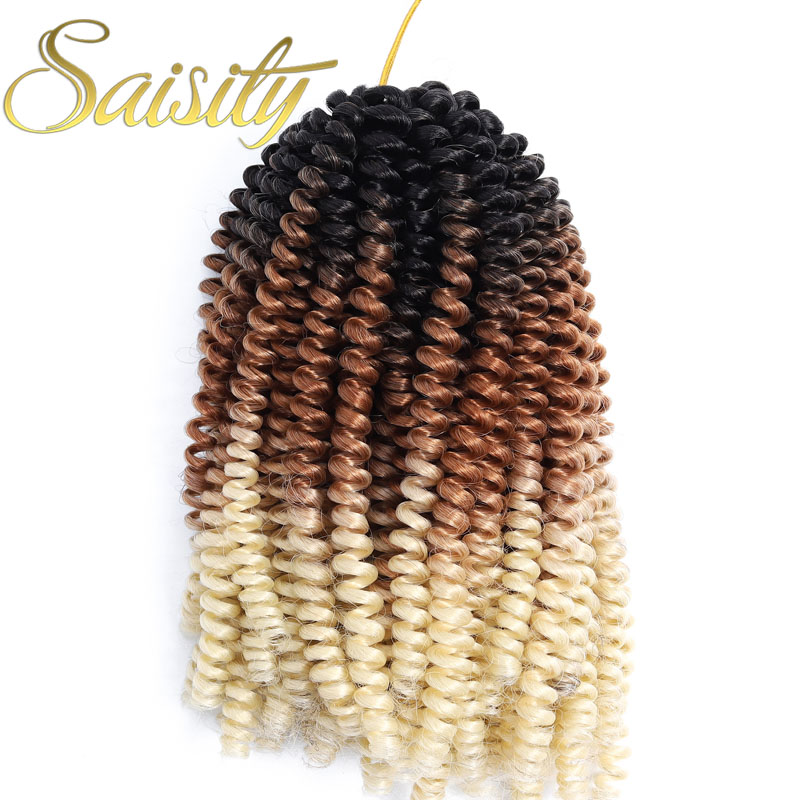 Saisity Ombre Synthetic Brown Spring Twist Braiding Hair Extension 30Roots/Pack Crotchet Passion Twist Braids Hair