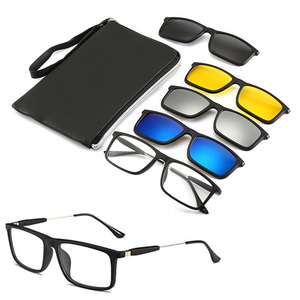 Image 1 - 4Pcs Unbreakable Clip on Sunglasses Polarized Magnetic lens Alloy Plastic TR90 Flexible Frame for Night Driving