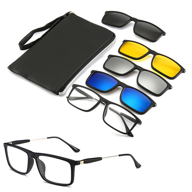 4Pcs Unbreakable Clip on Sunglasses Polarized Magnetic lens Alloy Plastic TR90 Flexible Frame for Night Driving