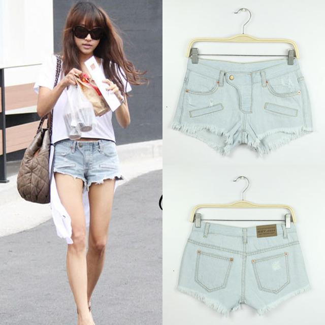 2016 Nova Moda Casual Calças Euramerican Rasgado Usado Impresso Solto Side Bind Sexy Hot Cintura Baixa Denim Shorts Jeans Para mulheres