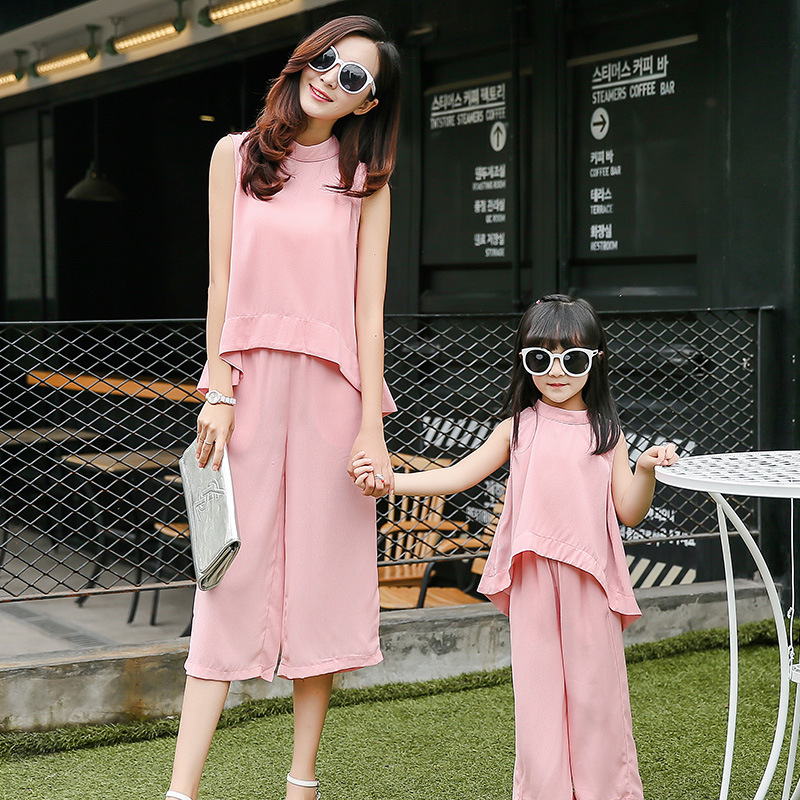 2016 matching mother and daughter clothes flax clothing set t-shirts+ pants family look matching outfits mommy and me clothes