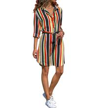 2019 New Yfashion Women Colorful Striped Waist Belted Long Sleeves Casual Dress