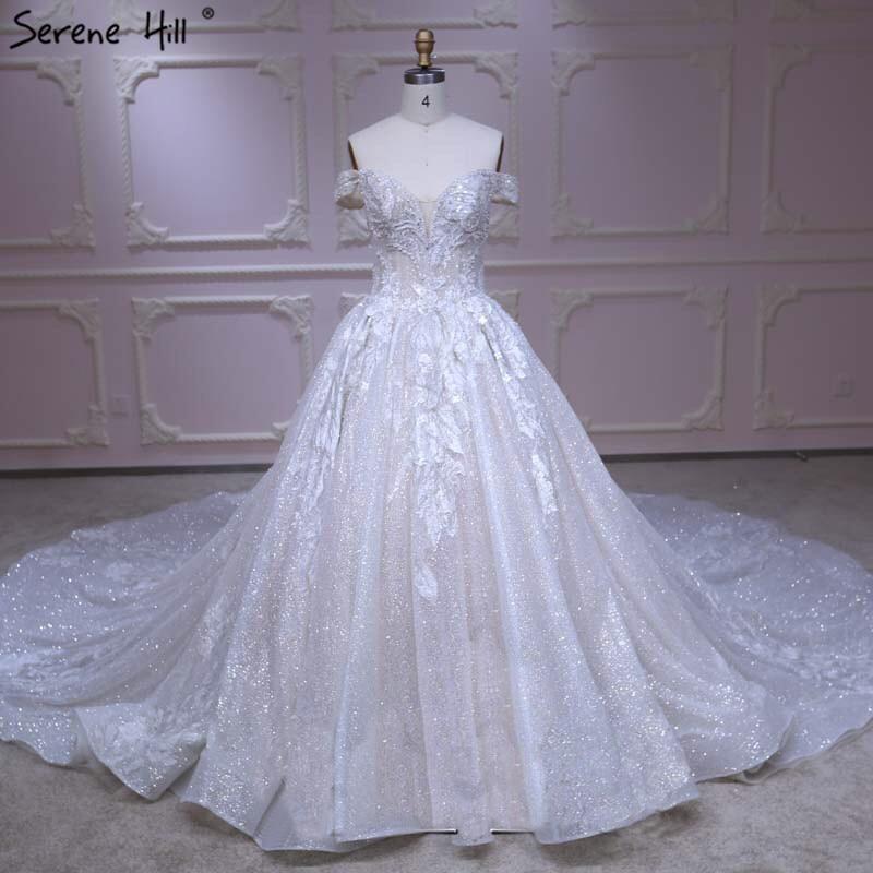 Dubai High End Glitter Handmade Flowers Wedding Dress 2019