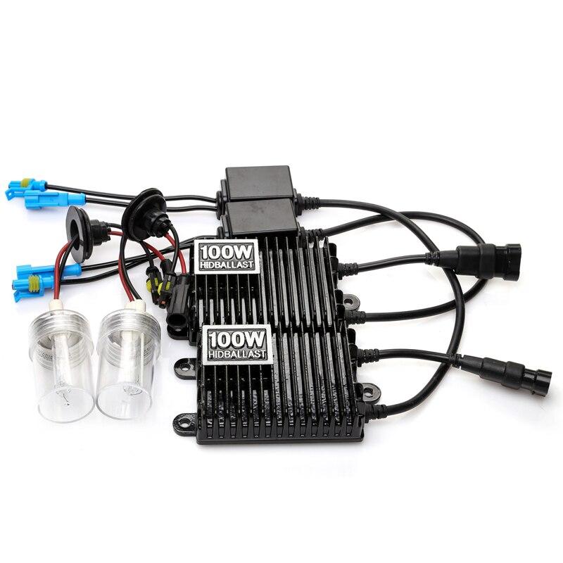 Ксенон H7 HID комплект H1 H11 H3 H8 H9 100W ксеноновый комплект для автомобиля головной светильник 4300K 5000K 6000K 8000K Высокая мощность HID балласт автомобильный светильник лампа