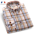 Langmeng 2016 Brand 100% cotton hot selling men casual shirts mens long sleeve spring autumn plaid shirts male dress shirt