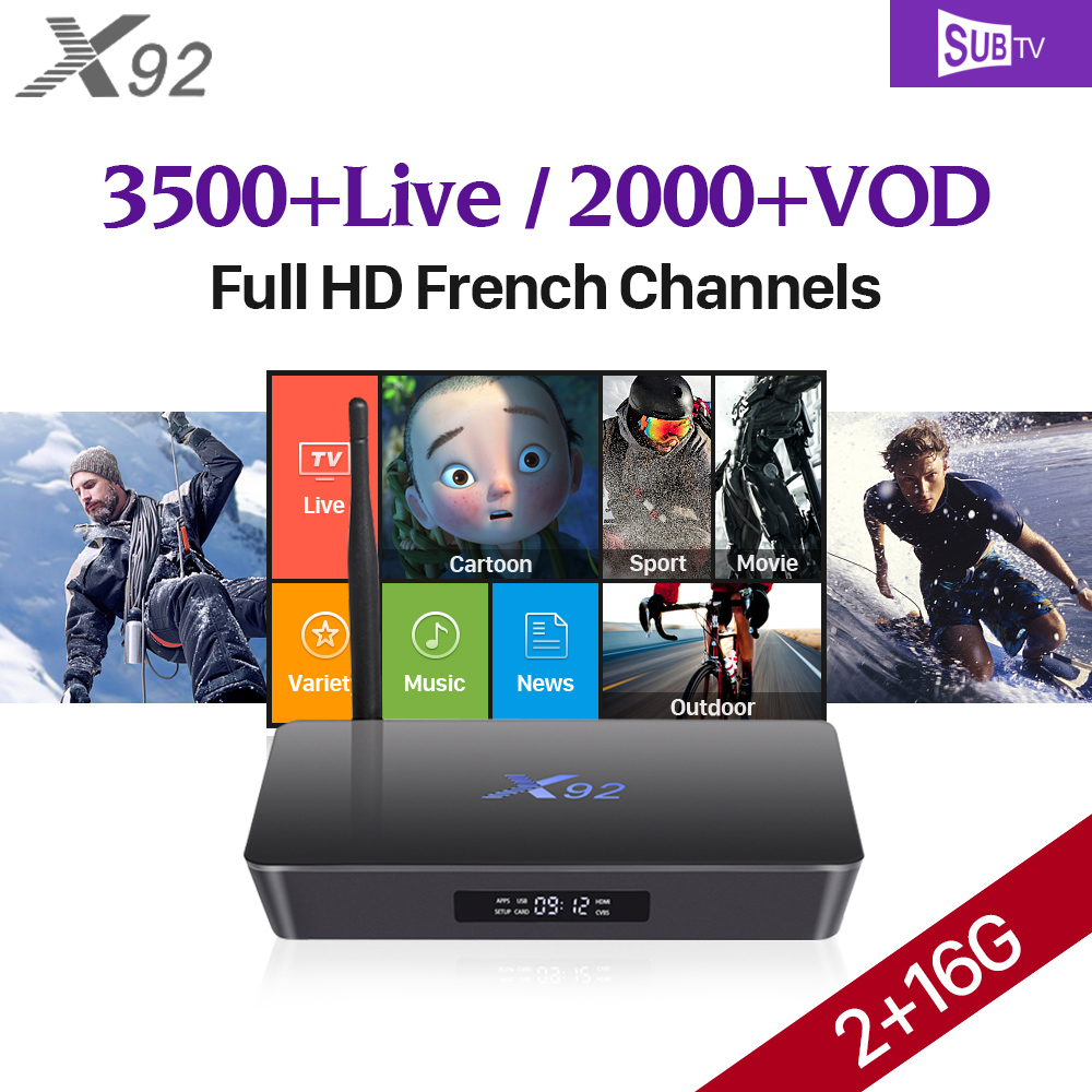 X92 TV Box Android 7.1 2GB Amlogic S912 Octa Core Smart Set Top Box 3500 Channels Subtv IPTV Arabic French Top Box