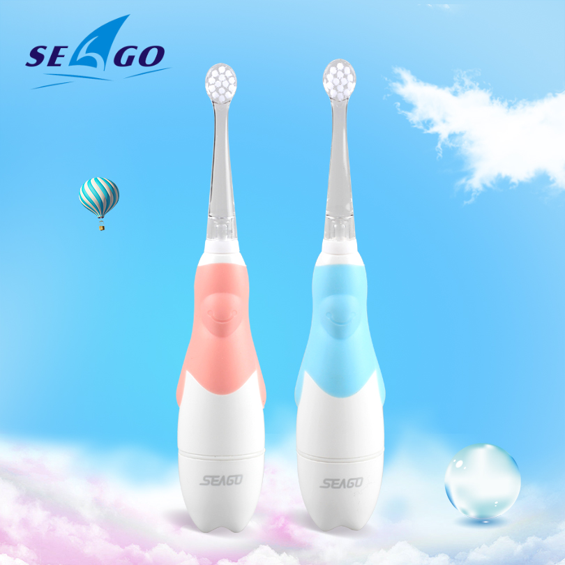 SEAGO Sonic Electric Toothbrush For 0-3 year Infant Baby Children Battery Automatic Teeth brush Waterpro of White LED Light Gift image