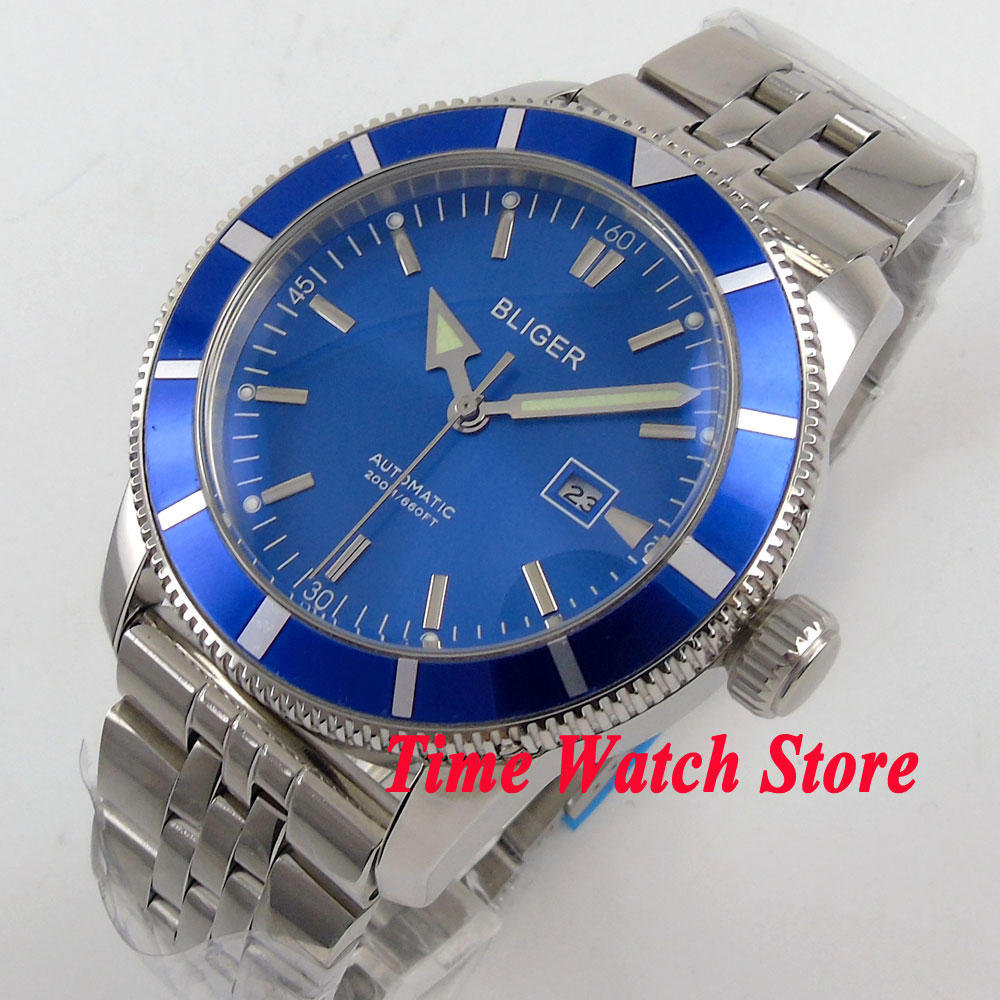 Bliger 46mm blue dial date luminous Stainless steel band deployant clasp Automatic mens watch BL100Bliger 46mm blue dial date luminous Stainless steel band deployant clasp Automatic mens watch BL100