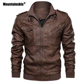 Mountainskin Vestes En Cuir homme 2019 Nouveau Automne Manteaux En Cuir décontracté Moto veste en cuir synthétique polyuréthane Homme Motard Vestes Taille de L'UE SA723