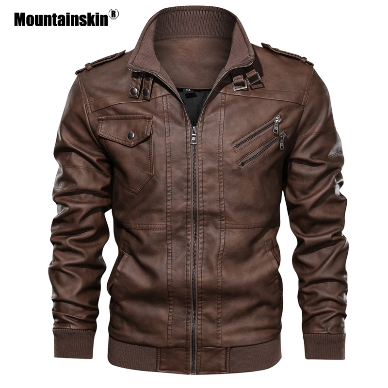 Mountainskin Men's Leather Jackets 2019 New Autumn Leather Coats Casual Motorcycle PU Jacket Male Biker Jackets EU Size SA723