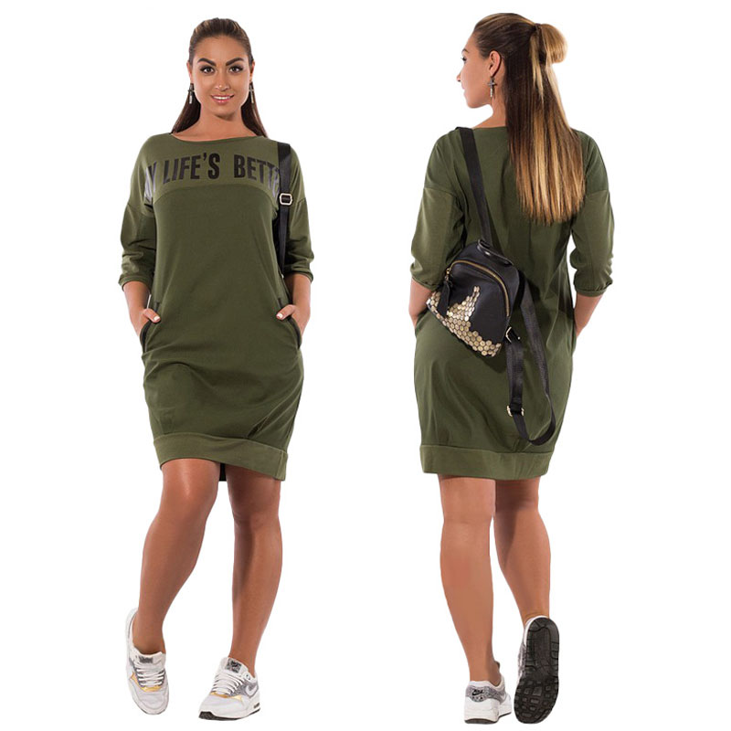 Fall Winter Dresses Casual Red Blue Green Bodycon Pockets Pullover Dress Large Size Alphabet Printing Plus Size Womens Dress