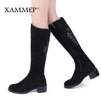 Для женщин Зимняя обувь сапоги до колена большие Размеры высокое качество из искусственной замши Брендовая женская обувь шерсть женские зи