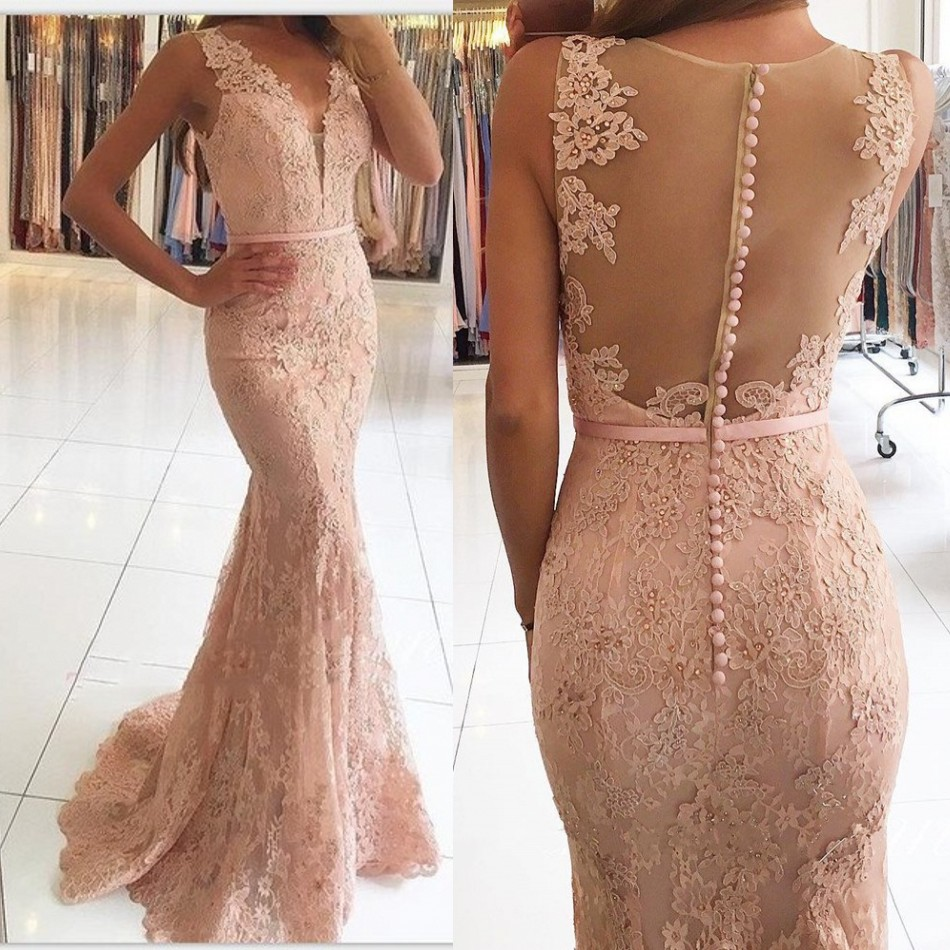 Pretty Nude Pink 2018 Mermaid Prom Gowns Lace Long Formal Evening Party Dresses V neck Sheer