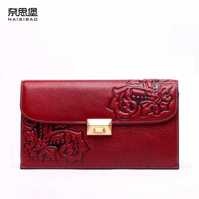 NAISIBAO new Designer embossed evening cluches handbags shoulder fashion  women genuine leather bag Convertible shoulder