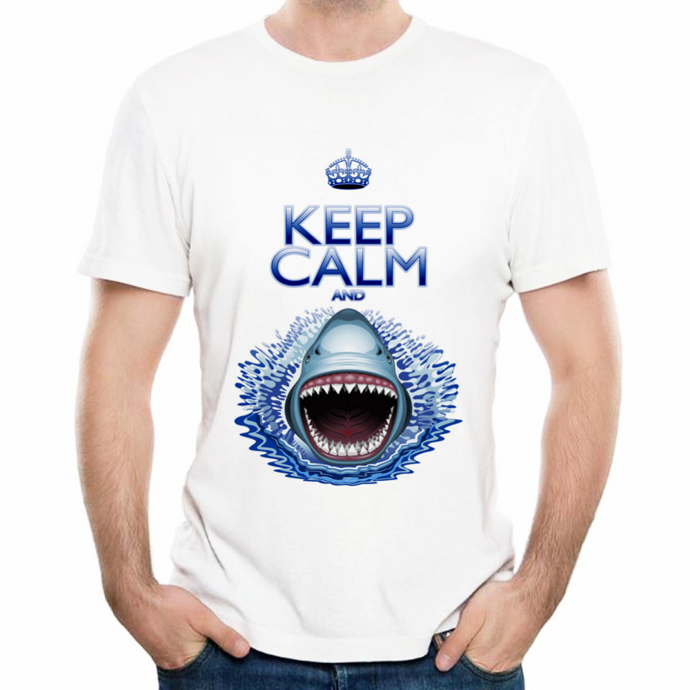 Design t shirt keep calm - Xqxon Personality Design Keep Calm And Shark Jaws Attack Interesting Pattern Men 3d T Shirt