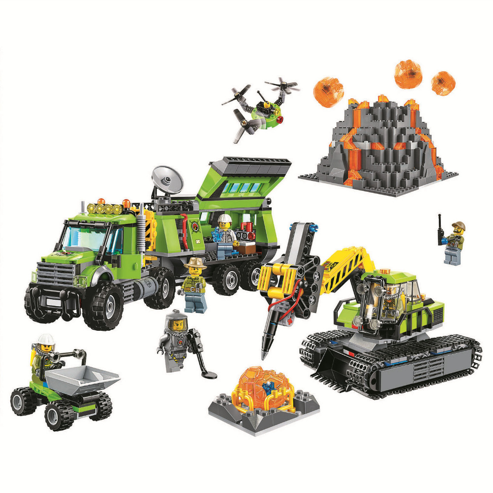 BELA City Volcano Exploration Base Building Blocks Sets Bricks Kids Model Kids Toys Marvel Compatible Legoe decool technic city series excavator building blocks bricks model kids toys marvel compatible legoe