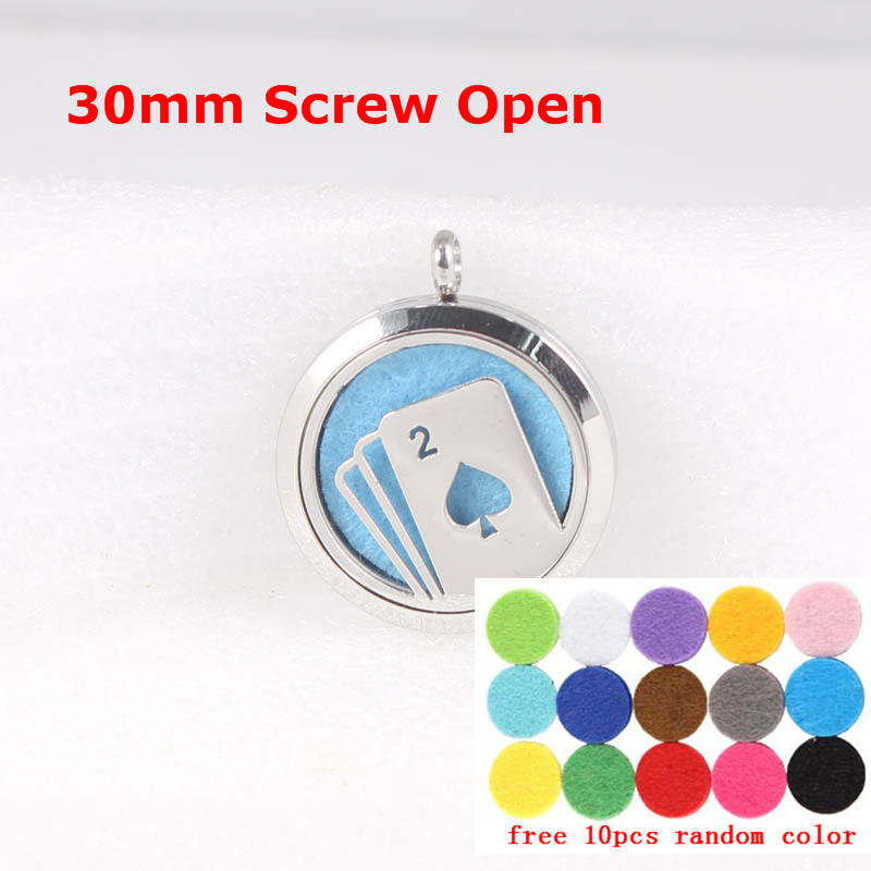 (10 Free Pads) Screw Diffuser Locket Stainless Steel Aromatherapy Essential Oil Pendant 10pcs