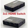 O envio gratuito de 3 portas hdmi splitter switcher 3x1 auto interruptor 3-in-1 out with selecter remoto uma ir extensão cabo