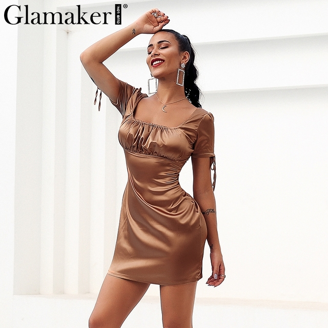 a7064a77385 Glamaker Satin country style sexy dress Women brown bow short mini bodycon  dress Party vintage sundress retro dress vestidos new