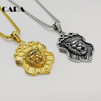 CARA New Plated Stainless Steel Lion Shield Pendant Necklace Men Animal Amulet Necklace Hip Hop Punk