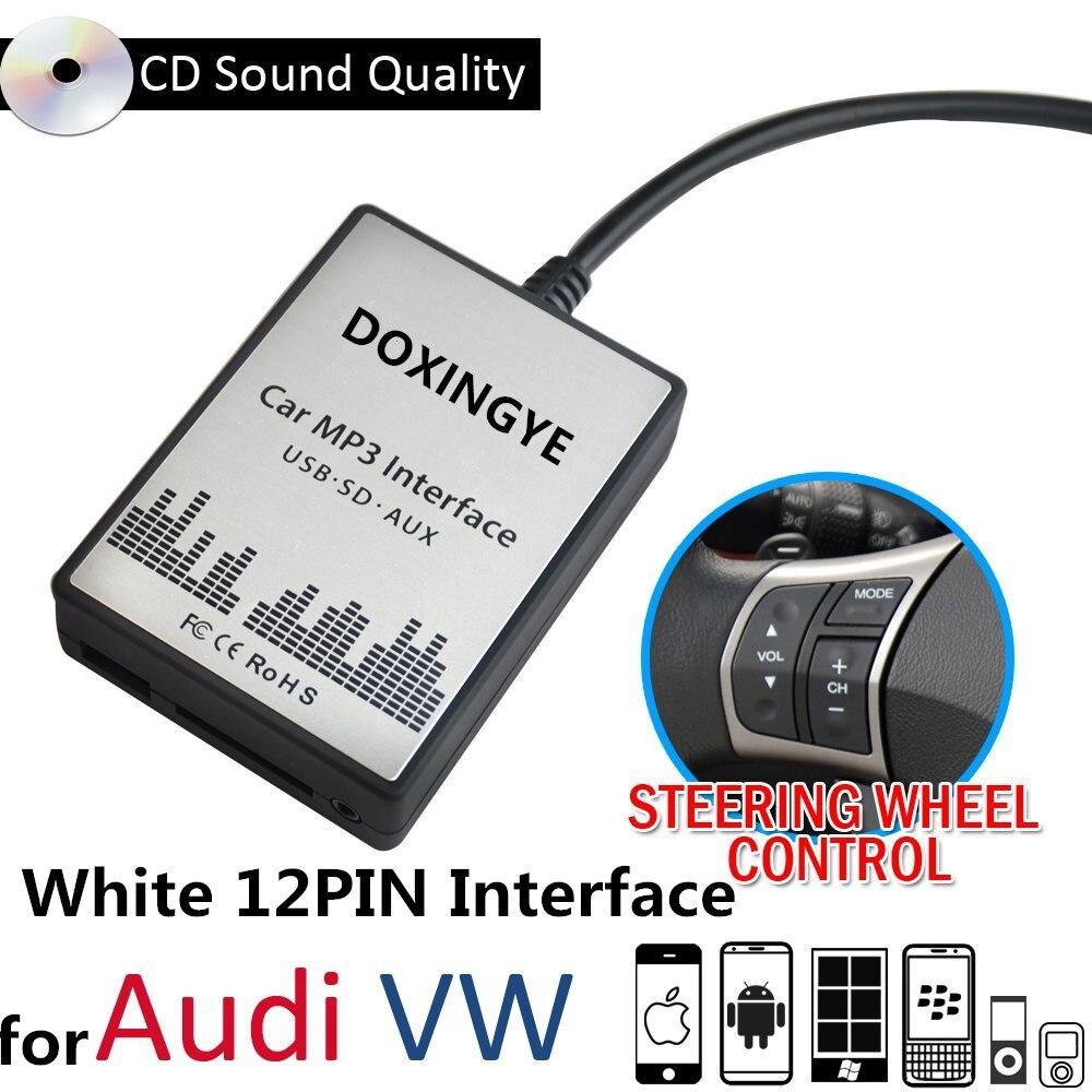 imágenes para DOXINGYE, Nuevo reproductor de MP3 Del Coche AUX USB SD Adaptador del Cambiador de CD para VW Audi Skoda Asiento de Golf Interfaz 12Pin envío gratis