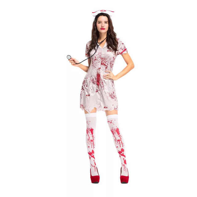 768c217cfba25 Teen Girls & Women Halloween Horror Nurse Zombie Costume Scary Bloody White  Dress Uniform Fancy Clothing Outfit For Female